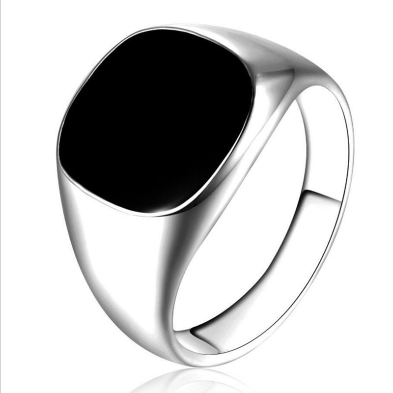 Gold Silver Plated Black Enamel Rings Men Vintage Ring Punk Classic Black Drip Imitation Black Stones Male Enamel Ring 目