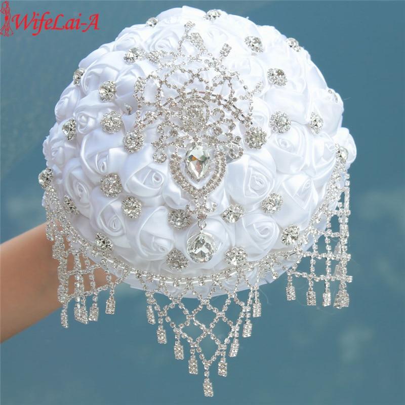 WifeLai-A New Handmade Rhinestone Brooch Tassel Wedding Bridal Bouquets White Advanced Customization Bride Wedding Bouquet W2032