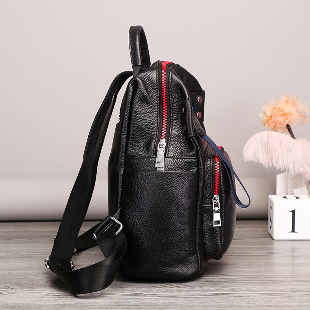 ZKW Genuine Leather Women large capacity Travel  Bag 2019 New Top Layer Cowhide Korean Fashion Casual Backpack Travel Bags-in Backpacks from Luggage & Bags    3