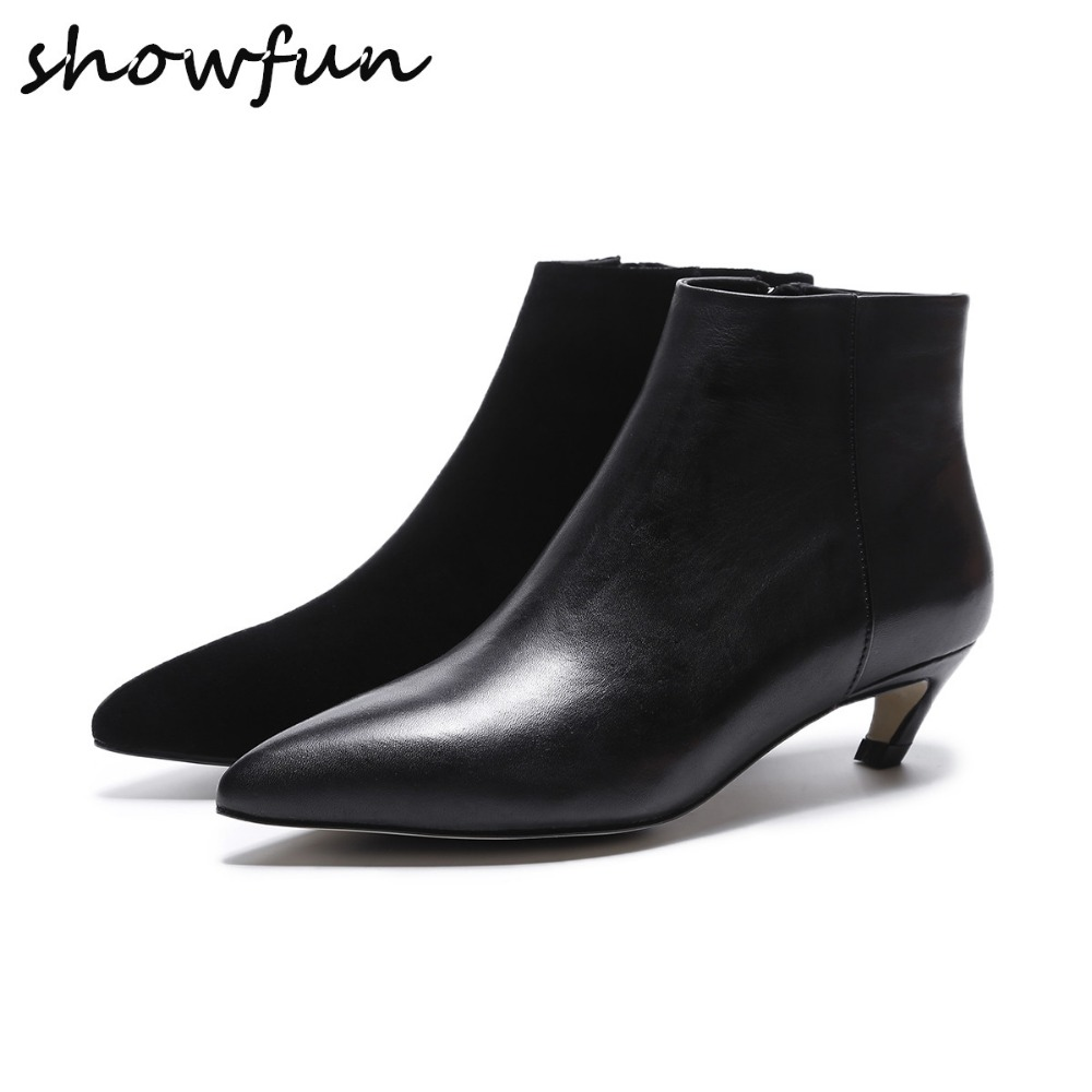 цены Women's Genuine Leather Low Heel Comfortable Autumn Ankle Boots Brand Designer Pointed Toe Elegant Short Booties Shoes Women Hot