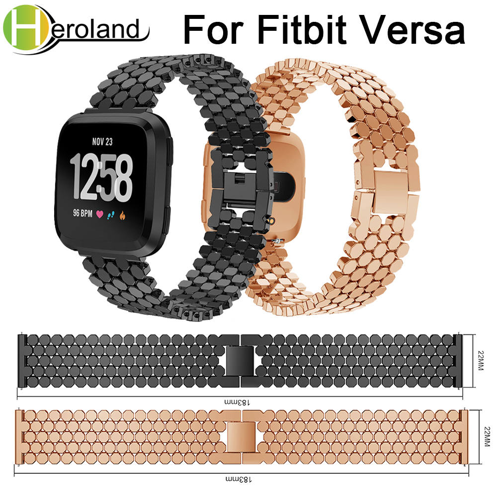 Wrist Band Replacement Stainless Steel Strap For Fitbit Versa band metal Smart Watch Band Strap bracelet 2018 new fashion Luxury in Watchbands from Watches