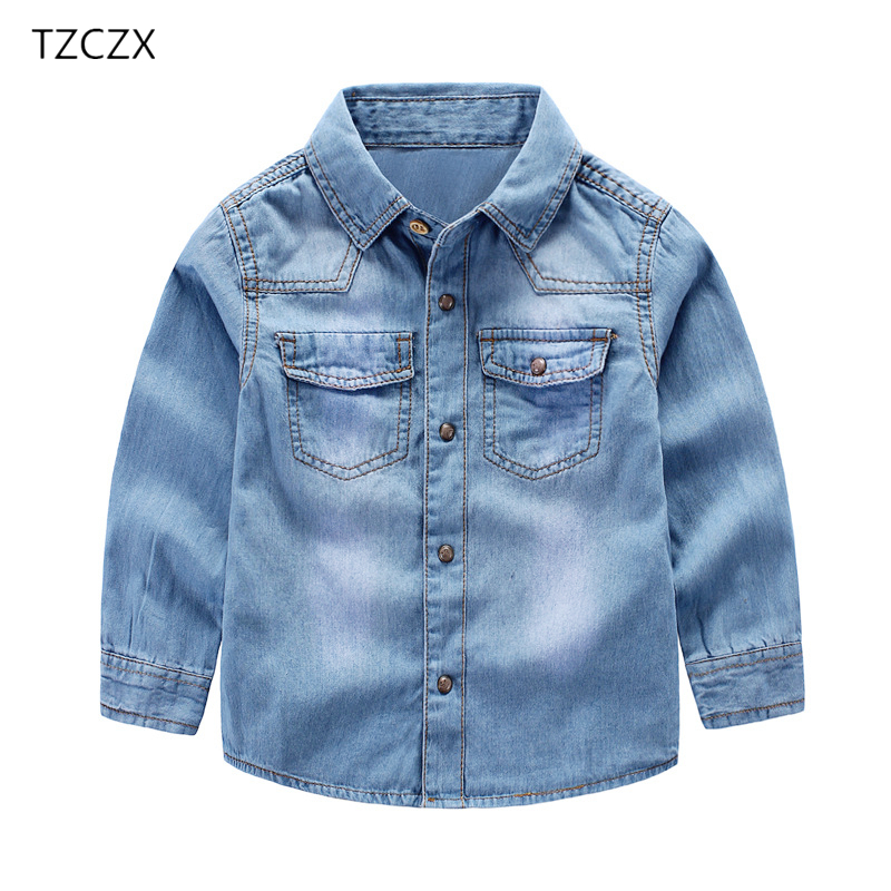 TZCZX-2025 New Brand Fashion Style Children Boys shirts Casual Solid Denim cotton kids shirt clothing