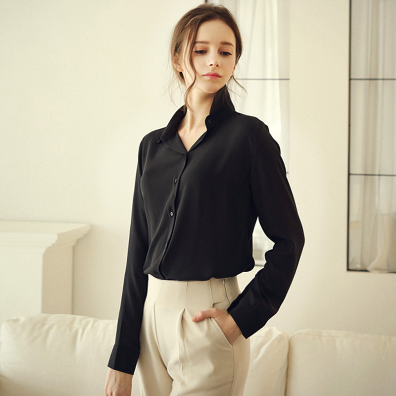 Blusas Femininas  Mujeres Solid Negro Blusa de La Gasa Tops Elegantes Señoras de