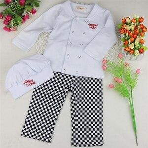 Image 3 - Baby Jongen Meisje Carnaval Kok Chef Halloween Cosplay Outfits Baby Kok Chef Keuken Uniform T shirt Broek Hoed Fotografie Kostuum