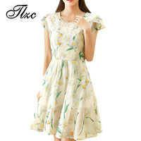 TLZC Korean Style Women Dress Short Sleeve Plus Size M-5XL Summer Floral Dress Sweet Lady Summer Ball Gown