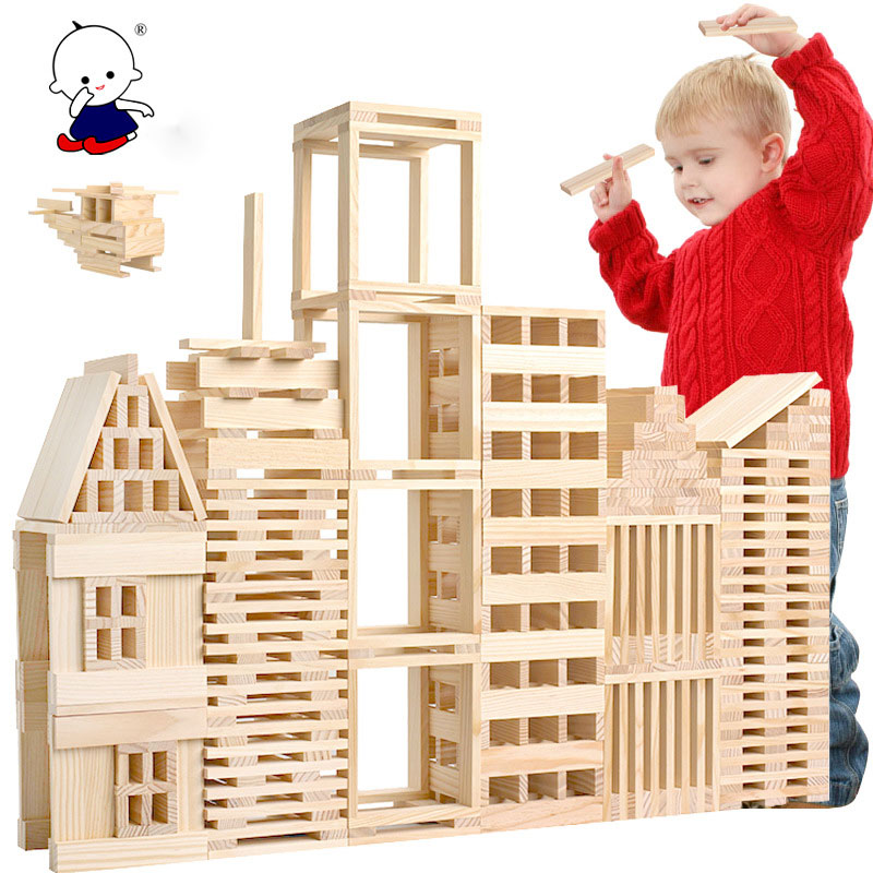 Wooden 100 Pieces Of Building Model Building Blocks Children's Intellectual Puzzle Pile Building Blocks  Early Education Toys