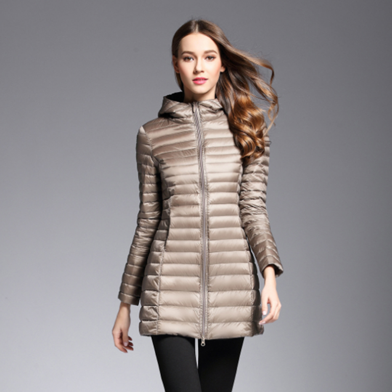 khaki Plus Long   Down   Jacket Women fall Winter Ultra Light   Down   Jackets Women With a Hood   Down     Coat   Female Big Size   coats   lady