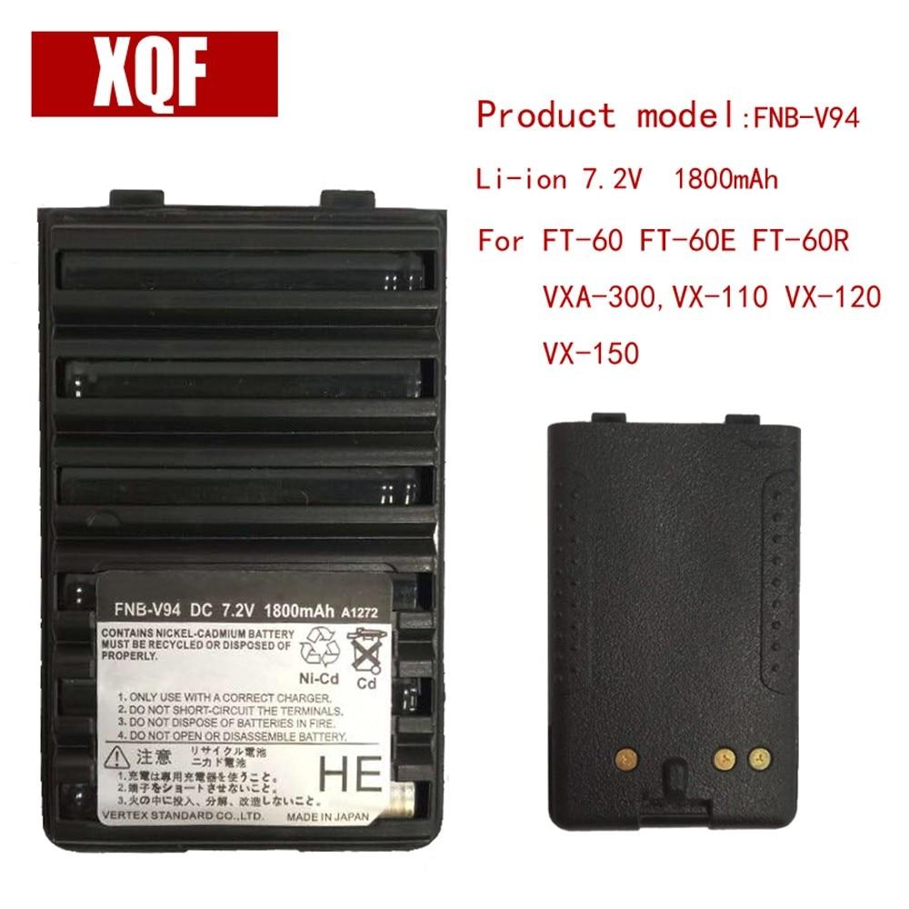 XQF 1800mAh 7.5V NI-MH FNB-V94 Ni-MH Battery For Yaesu / Vertex Radio FT-60 FT-60E FT-60R VXA-300,VX-110 VX-120 VX-150 Radio
