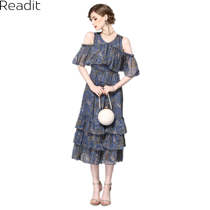 Blue Apricot Floral Print Ruffle Chiffon Dress 2017 Spring Women V-neck Cold Shoulder Dresses Beach Summer Dress Vestidos B1976 meifeier 407 women s fashionable knitted chiffon blouse apricot l