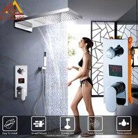 Quyanre цифровой смеситель для душа комплект дождь водопад Насадки для душа 3 Функция цифровой Температура Дисплей смесителя Для ванной смесит