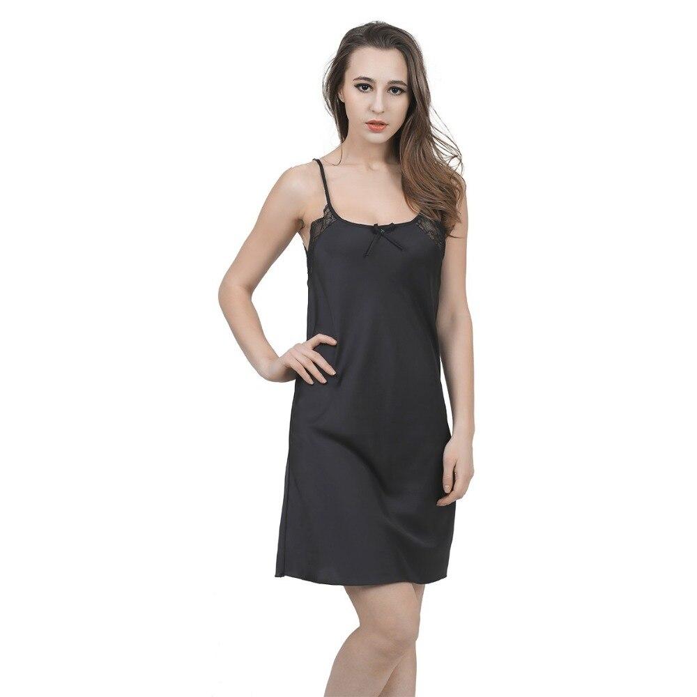 New Solid Satin Chiffon Women Nightgowns Sleepshirt Summer Nightdress Chemises Nightshirt Sleepwear Sexy Nightwear Slips