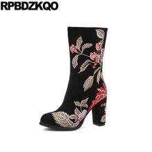 черный коренастый настоящая кожа ручной работы замша вышитый вышивка ботинки цветок осенняя на каблуке полусапожки Дизайнерская обувь женская роскошь 2017 китайский женский мода новый