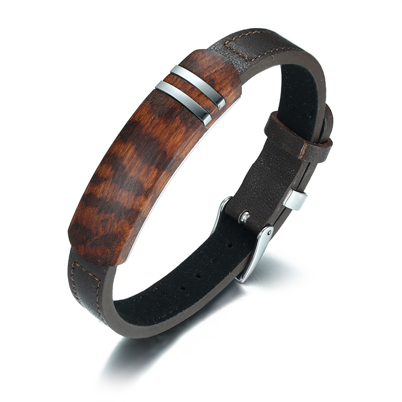 Men Genuine Leather Bracelet Palisander Rosewood Tag Inlay Silver Line Wristband Adjustable Stainless Steel Belt Buckle Jewelry stainless steel u shaped adjustable 4 hole shackle buckle for paracord bracelet silver 6 pcs