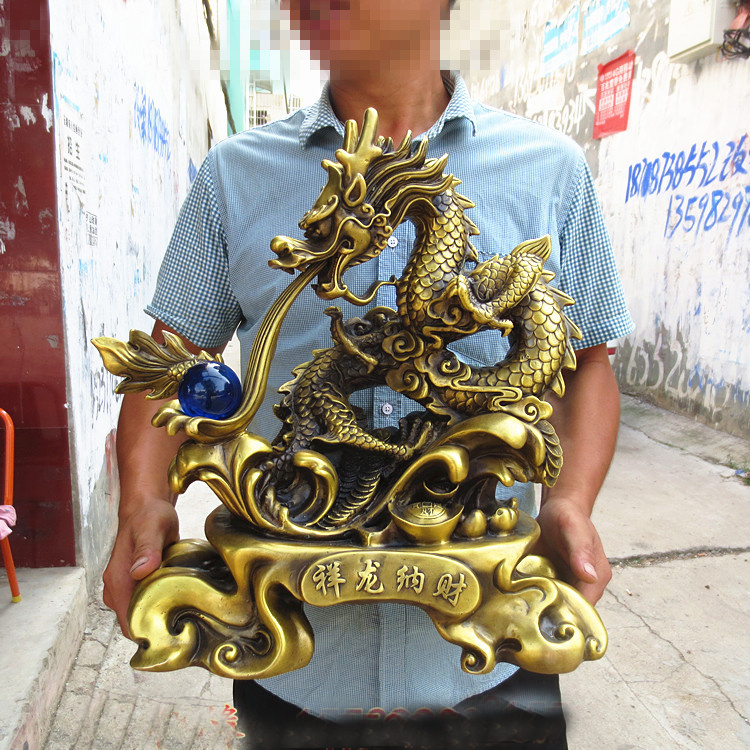 2020 LARGE -HOME Office SHOP Business ART Money Drawing GOOD LUCK  Mascot  Royal Dragon Ball FENG SHUI Brass ART Statue