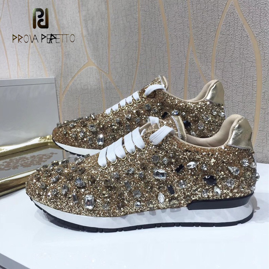 Prova Perfetto bling bling diamond women casual shoes lace up rhinestone sequine sneakers shoes thick bottom