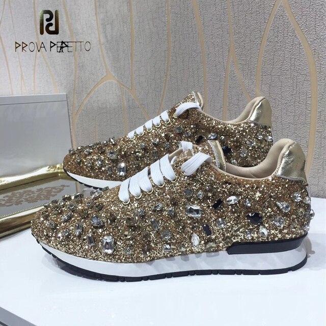 Prova Perfetto bling bling elmas kadın rahat ayakkabılar dantel kadar rhinestone pullu sneakers ayakkabı kalın alt moda kız ayakkabı