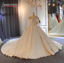 Stunning luxury bridal dress with full beading bodice ball gown weddings 2019