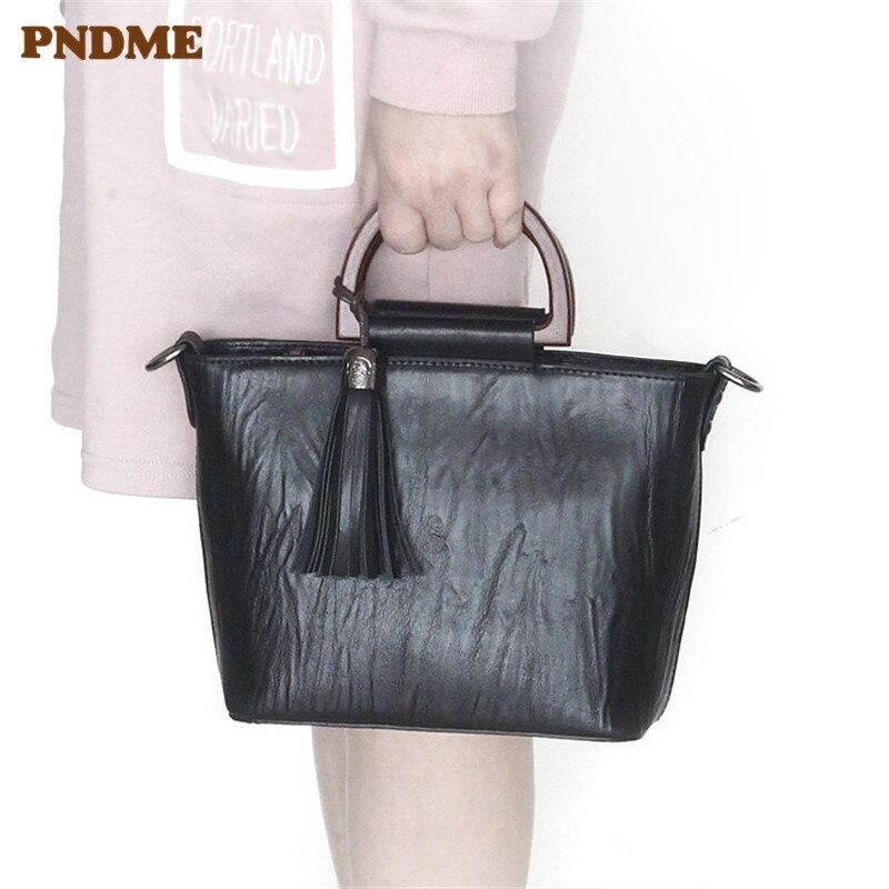 PNDME простые женские сумки из натуральной кожи, Модные Винтажные летние сумки из воловьей кожи, черная женская сумка через плечо, сумка на вых...