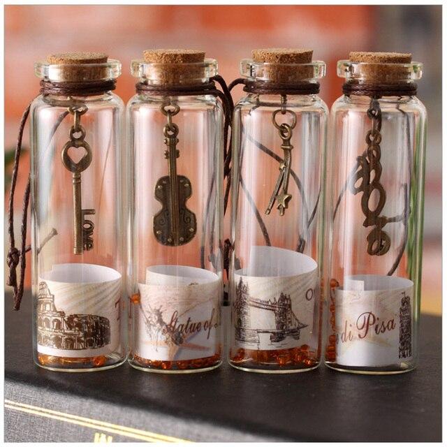 Cute Vintage Sand Drift Bottle Mini Clear Cork Stopper Diy Glass