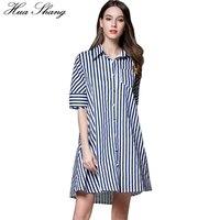 Women Summer Turn Down Collar Half Sleeve Casual Shirt Dress A Line Striped Dress Loose Plus