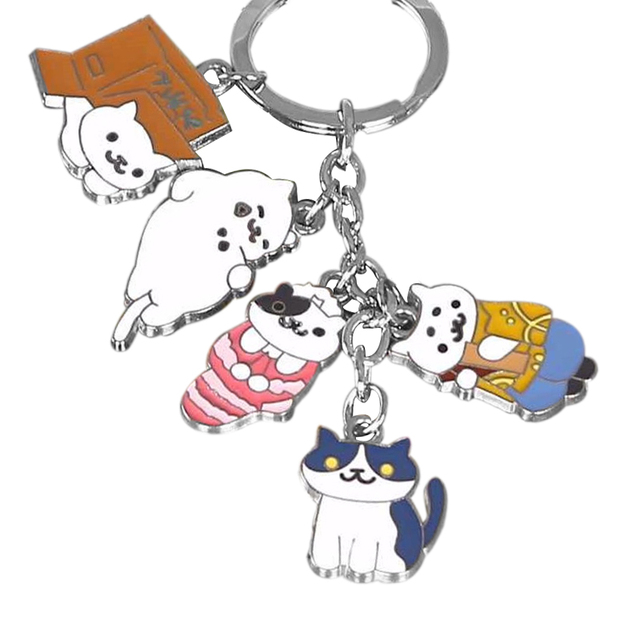 Game Neko Atsume Kitty Collector Tubbs Lexy Metal Pendant Keychain Charm Toy Gift Collection