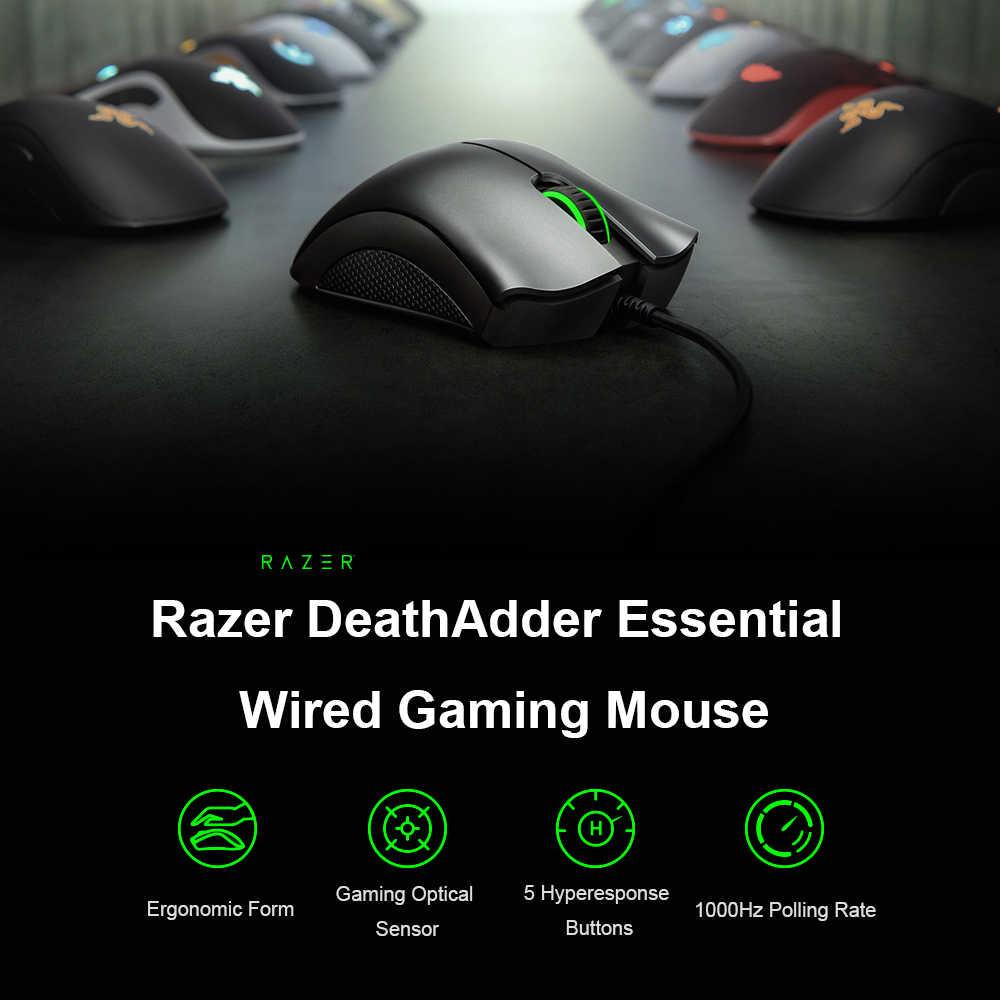 Oryginalny Razer DeathAdder niezbędne przewodowa mysz do gier 6400DPI ergonomiczna profesjonalne czujnik optyczny ergonomiczny Razer myszy