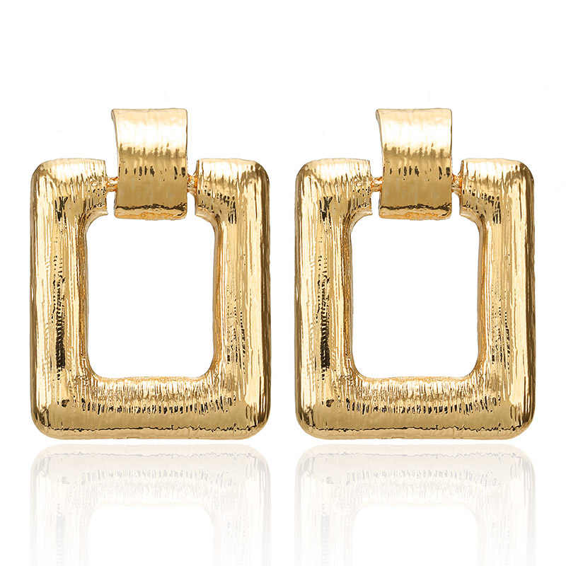 New Golden Color Square Earrings For Women Girl Punk Style Statemen Fashion Jewelry Gift For Wedding Party Earring