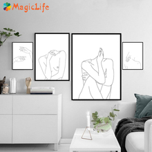 Modular Minimalist Line Decor Wall Art Canvas Painting Sexy Woman Body Nude  Poster Pictures For Living Room Prints