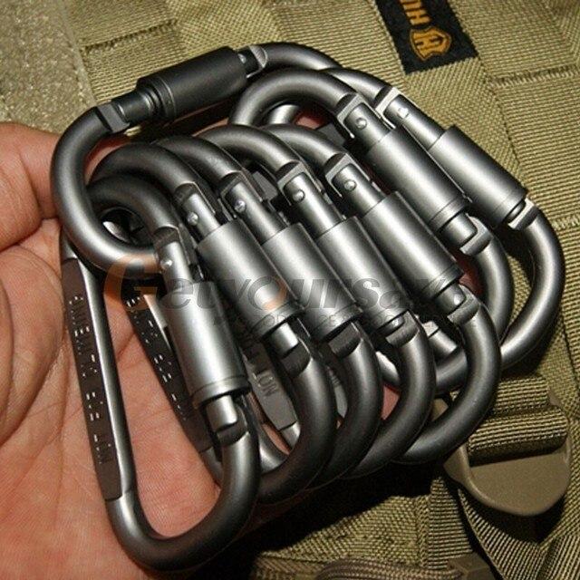 5pcs Outdoor Camping Equipment Aluminum Carabiner Hunting Equipment Survival Kit Lock Carabiner