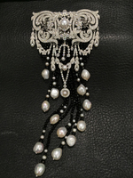 black onyx and white natural freshwater pearl brooch china patterns 925 sterling silver with cubic zircon tassels top quality