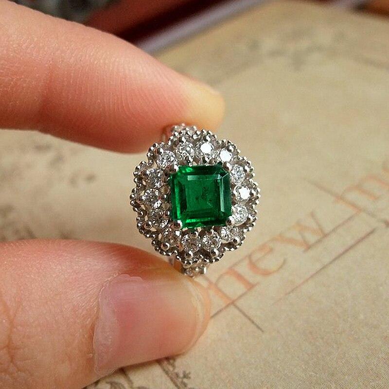 Обручальное кольцо бижутерия для женщин Colombia Solid 18 K Белое Золото 1.1ctw Moissanite квадратный зеленый изумруд Halo Кольцо