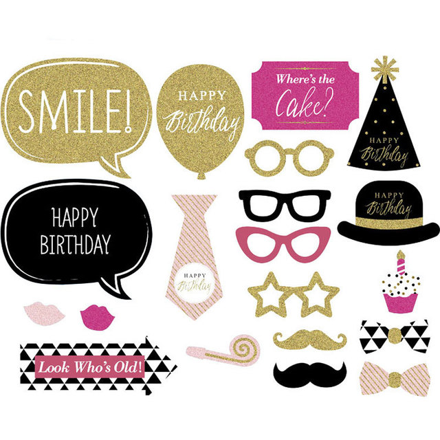 1 set happy birthday photobooth paper mustache party supplies free shipping photo booth props baby shower