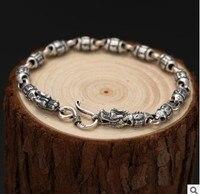 100% real925 серебряные ювелирные изделия для мужчин S браслеты 2019 интимные аксессуары Подарки для мужчин браслет буддистский 18,5 см 6 мм