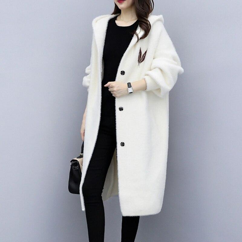 Fashion Casual Hooded Print Woolen Outwears Female Loose Blens Jacket Coats Autumn Winter Women Mink Fur Coat RE2030