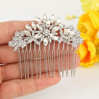 BELLA 2015 Love Heart Crown Bridal Hair Comb Gem Cubic Zircon Head Piece For Wedding Hair