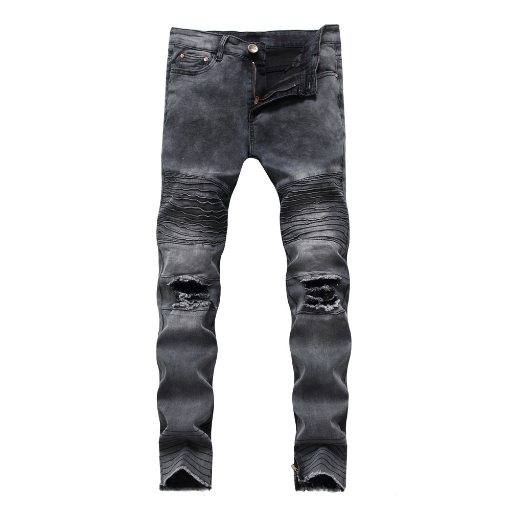 Summer autumn new mens distressed hole ripped jeans straight fashion hip hop ankle zipper pleated plus size male denim trousers