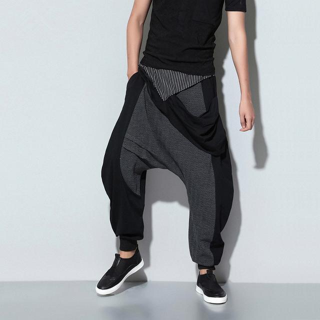 HOMBRES pantalones de algodón sueltos costura pantalones sarrouel pies hip hop