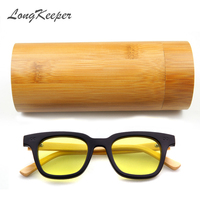 LongKeeper 2017 TOP Brand Designer Men Wood Bamboo Sunglasses New Wood SunGlasses Original Box Retro Vintage
