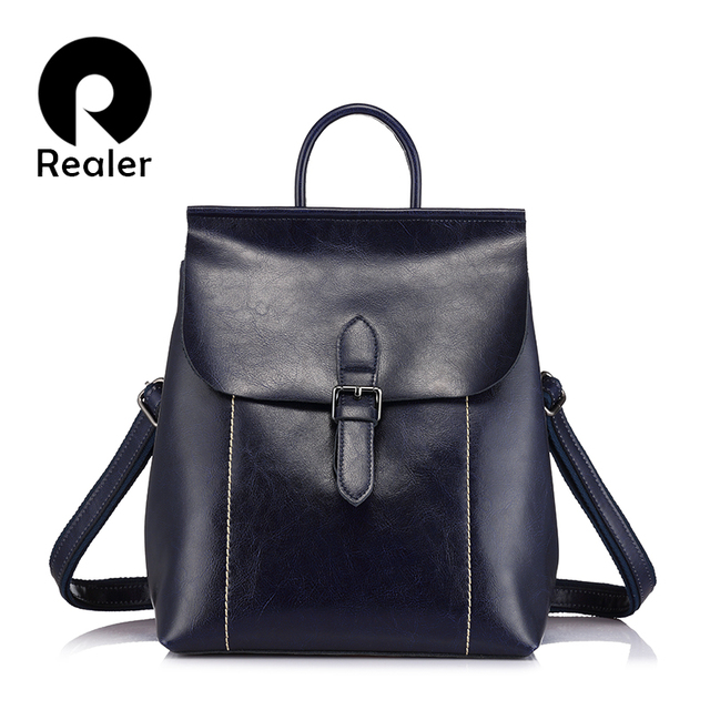 REALER brand women genuine leather backpacks fashion  ladies bags large capacity backpacks for teenage girls female backpack