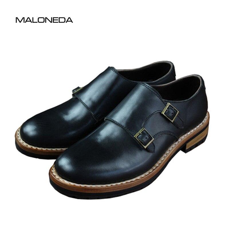 Monge Tira Preto Couro Sapatos Rodada Feito Welted Toe Bespoke Com Goodyear 100 Maloneda Handmade Casuais Genuíno A XaznAIqXFw