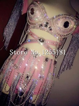 Bling Rhinestone Rose Bikini Pearls Tassel Chains Outfit Women's Sexy Party Wear Clothing Set Sequins Bodysuits Costumes