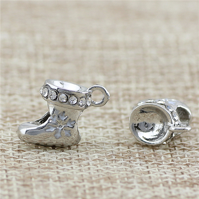 2 Style snowflake shoe Charm Pandora beads Fit Bracelet Jewelry DIY Big Hole Diy Charms  ...