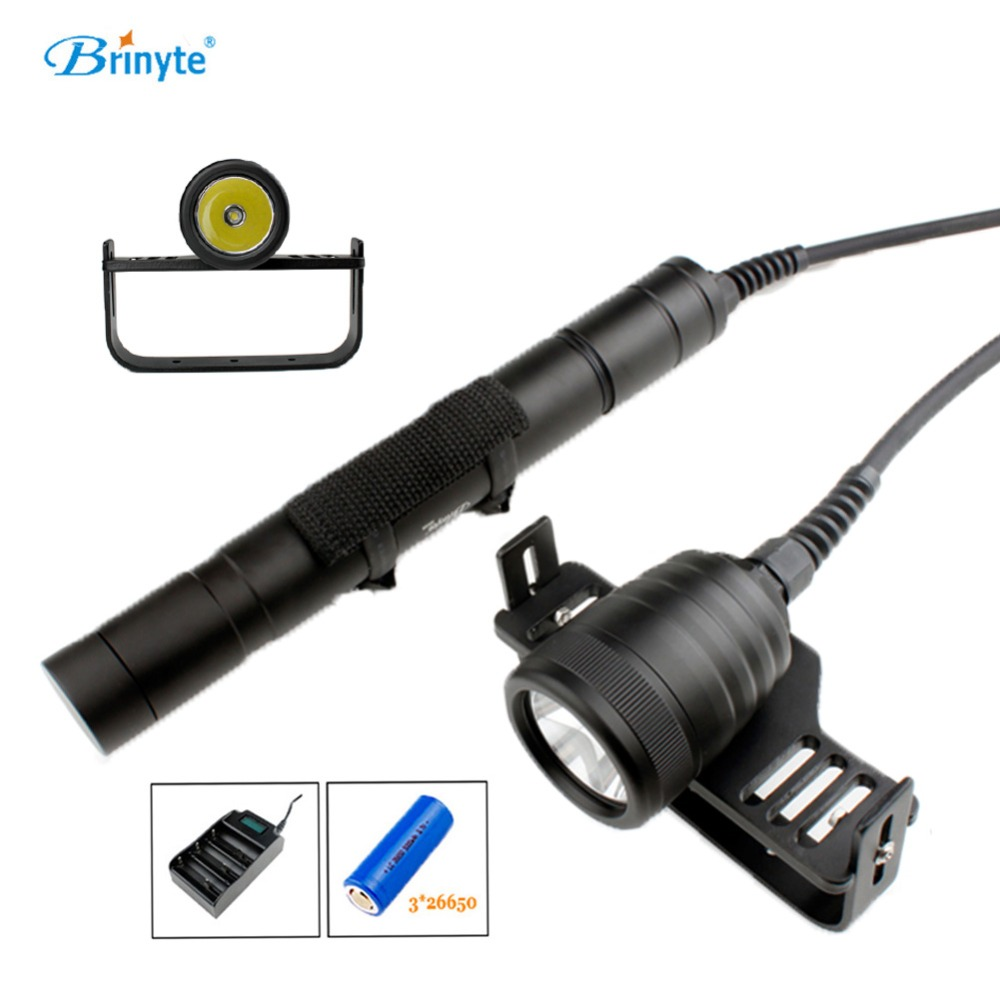 Brinyte DIV09 CREE XM-L2 Underwater Split Style LED Scuba Diving Flashlight Diver Torch Lamp Light with 3*26650 Battery&Charger cree xm l l2 5000lumens 18650 or 26650 rechargeable batteries scuba diver flashlight led torch underwater diving light lamp