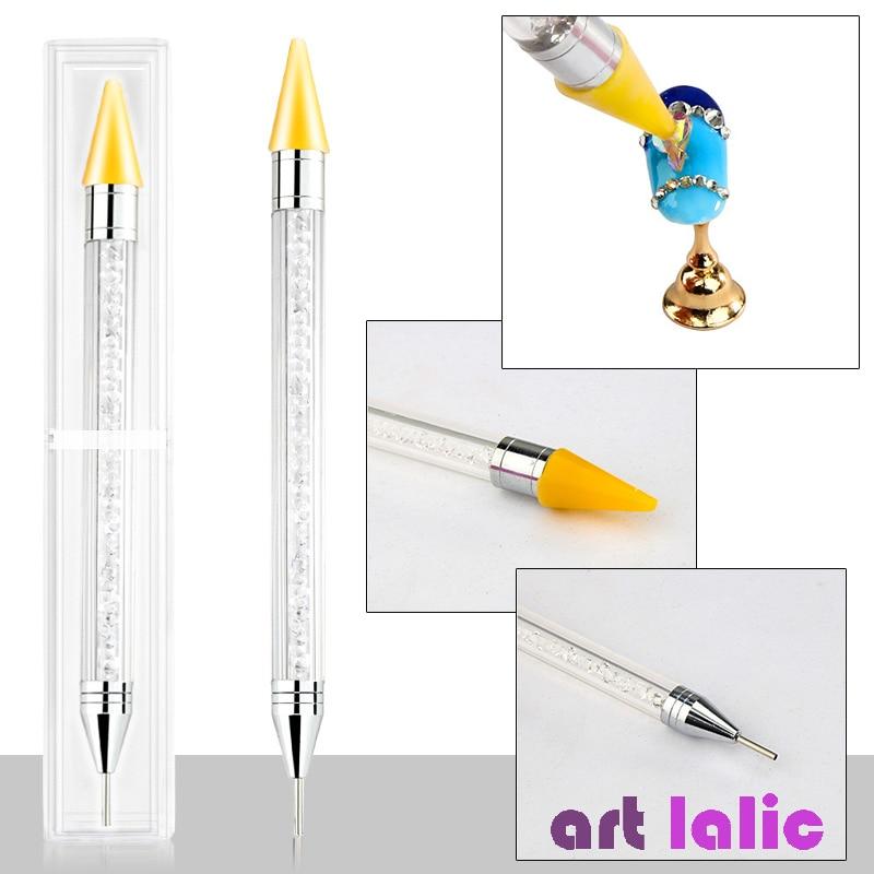 Wax Dot Dual End Nail Art Acrylic Picker Dotting Pen Rhinestone Glitter Powder Sequins Pick Up Remove Tool Brush