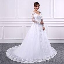 yiwumensa Lace A Line wedding dresses Vestido de novias long sleeve wedding dress 2017 Sexy Backless Bridal gown robe de mariee