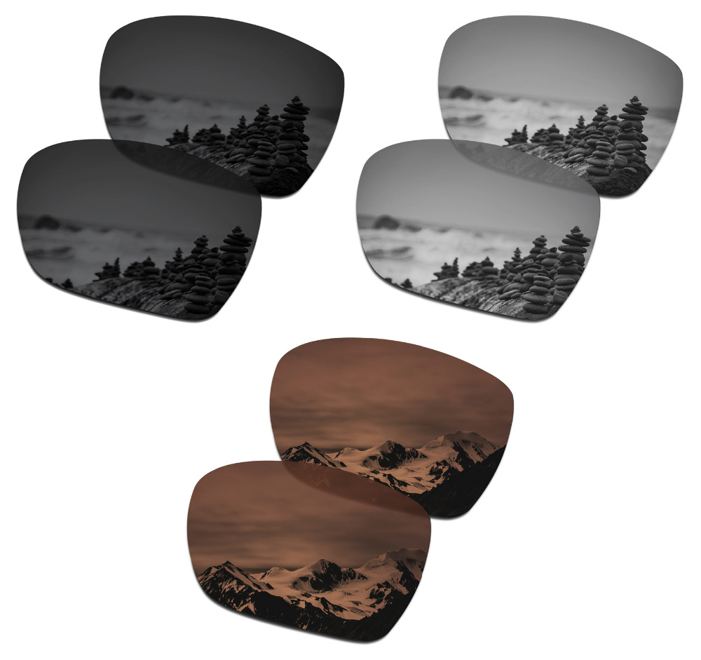SmartVLT 3 Pairs Polarized Sunglasses Replacement Lenses for Oakley Catalyst Black and Silver Titanium and Amber Brown