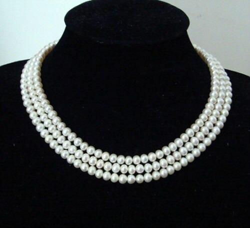 Nouveau mode jolie 3 rangées 8-9mm blanc culture d'eau douce perle perles collier haute qualité ling chaîne bijoux livraison gratuite BV238