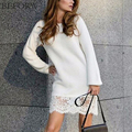 BEFORW Autumn And Winter Dress Knitted Cotton Long Sleeves Dresses Fashion Lace Splicing White Black Women Sexy Dress Vestidos