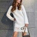 Beforw outono e winter dress vestidos do laço da forma de malha de algodão de mangas compridas splicing preto branco mulheres sexy dress vestidos
