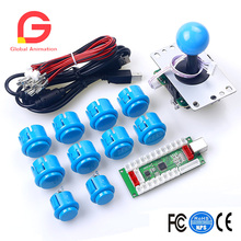 PC PS3 Android XBOX 360 For Windows 4 In 1 USB To Arcade Joystick Encoder Board + 4/8 Way Switchable Joystick + 10 Push Button цена